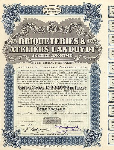 Briqueteries & Ateliers Landuydt historic stocks - old certificates