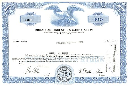 Broadcast Industries Corporation historic stocks - old certificates