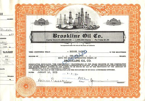Brookline Oil Co. historic stocks - old certificates