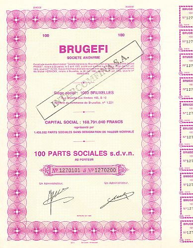 Brugefi historic stocks - old certificates