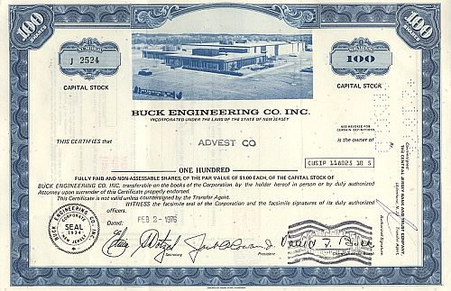 Buck Engineering Co. Inc. historische Wertpapiere - alte Aktien