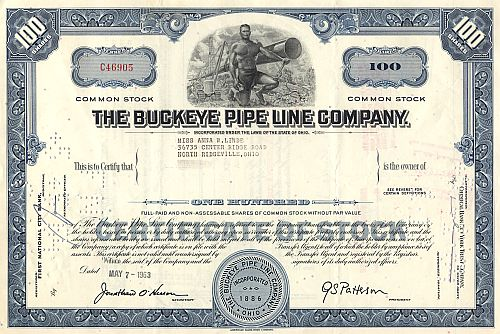 Buckeye Pipe Line Company historic stocks - old certificates
