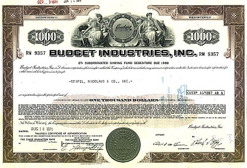 Budget Industries Inc. historic stocks - old certificates