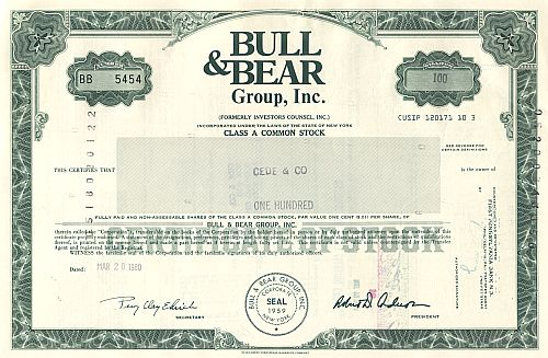 Bull & Bear Group, Inc. historic stocks - old certificates