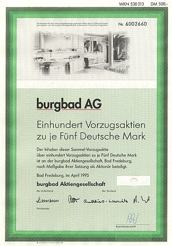burgbad AG historic stocks - old certificates