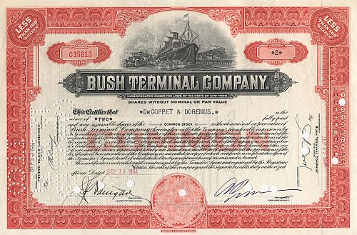 Bush Terminal Company historic stocks - old certificates