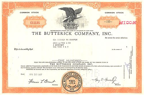 Butterick Company, Inc. historic stocks - old certificates