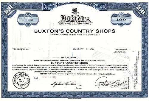 Buxton's Country Shops historic stocks - old certificates