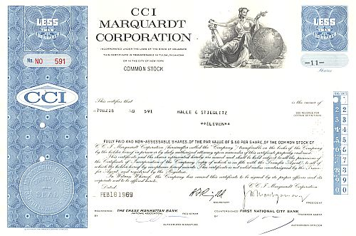 CCI Marquardt Corporation historic stocks - old certificates