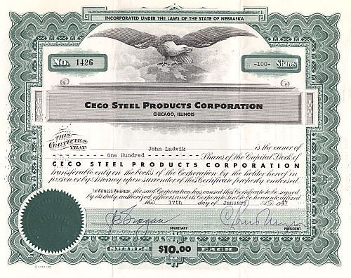 Ceco Steel Products Corporation historic stocks - old certificates