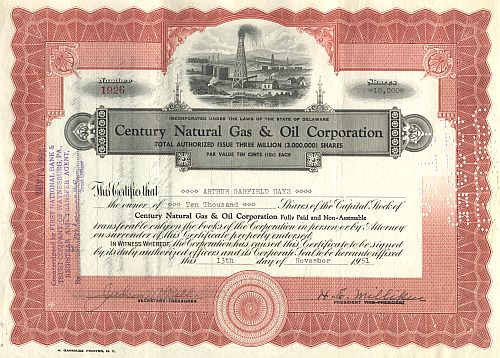 Century Natural Gas & Oil Corporation historische Wertpapiere - alte Aktien