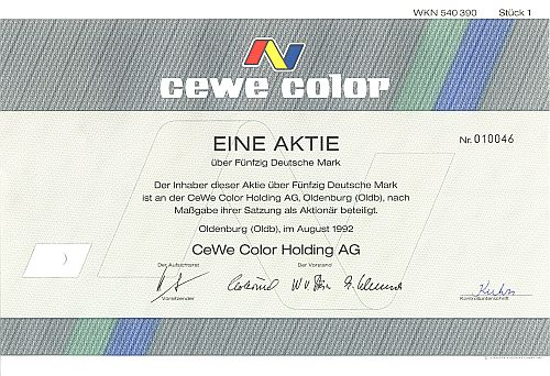 Cewe Color Holding historic stocks - old certificates