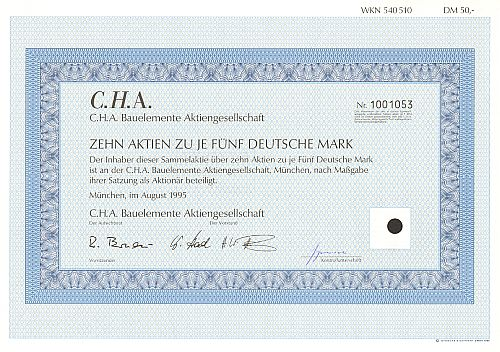 C.H.A. Bauelemente Aktiengesellschaft historic stocks - old certificates