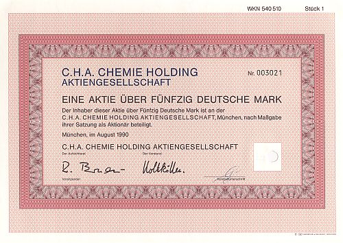 C.H.A. Chemie Holding Aktiengesellschaft historic stocks - old certificates