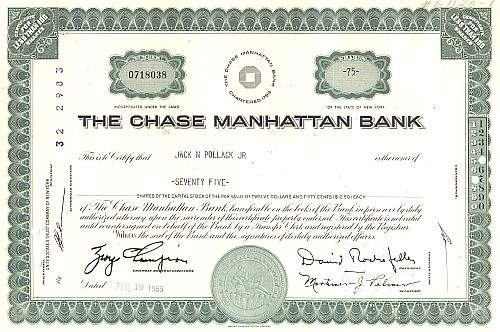 Chase Manhattan Bank (Logo) historic stocks - old certificates