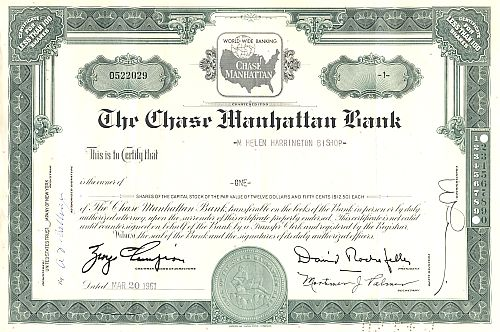 Chase Manhattan Bank (Karte) historic stocks - old certificates
