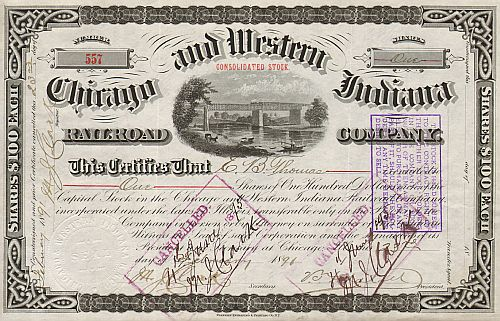 Chicago and Western Indiana Railroad Company  historic stocks - old certificates