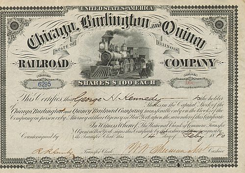 Chicago, Burlington and Quincy Railroad Company (Autograph Kennedy)) historische Wertpapiere - alte Aktien