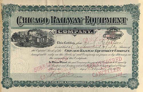 Chicago Railway Equipment Company historische Wertpapiere - alte Aktien