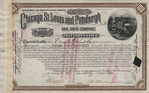 Chicago, St. Louis and Pittsburgh Rail Road Company historic stocks - old certificates