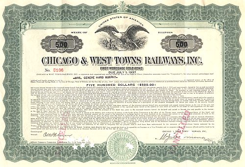 Chicago and West Towns Railways historische Wertpapiere - alte Aktien