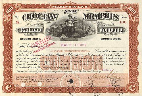 Choctaw and Memphis Railroad Company  historic stocks - old certificates