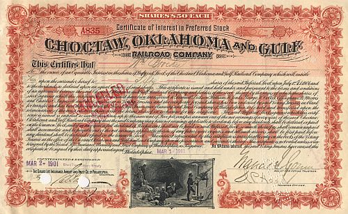 Choctaw, Oklahoma and Gulf Railroad historic stocks - old certificates