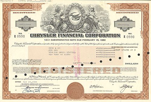 Chrysler Financial Corporation -  historic stocks - old certificates Automobiles