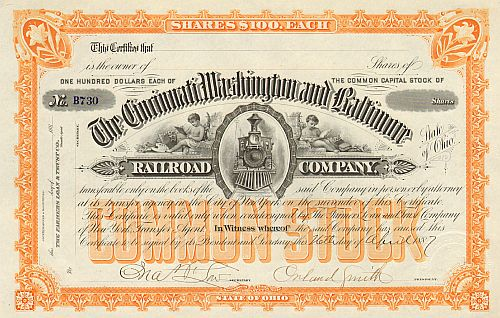 Cincinnati, Washington and Baltimore Railroad Company (Autograph Smith)