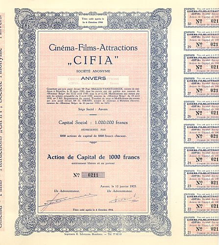 Cinema-Films-Attraction (CIFIA) historic stocks - old certificates