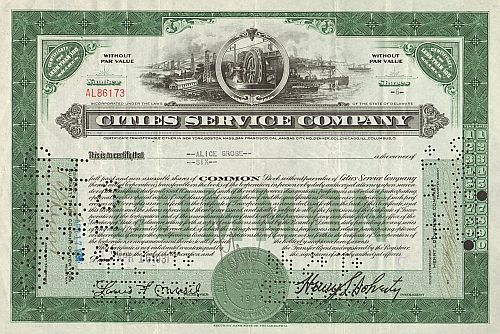 Cities Service Company (Citgo) -  historic stocks - old certificates Oil and Chemicals