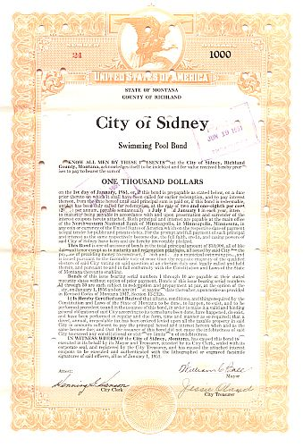 City of Sydney historic stocks - old certificates