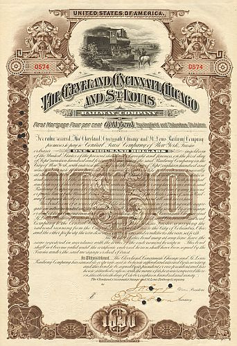 Cleveland, Cincinnati, Chicago and St. Louis Railway Company historic stocks - old certificates