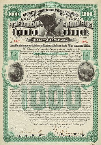 Cleveland, Columbus, Cincinnati and Indianapolis Railway Company historic stocks - old certificates