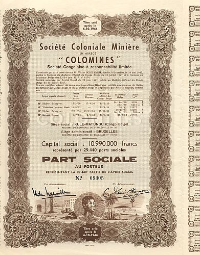 Colomines' Societe Coloniale Miniere historic stocks - old certificates