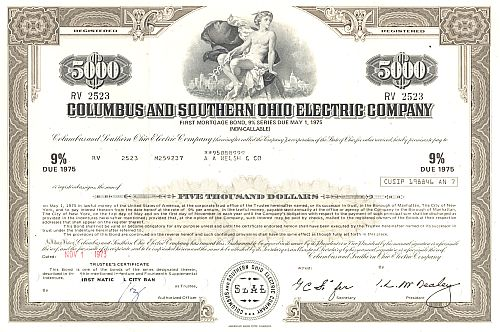 Columbus and Southern Ohio Electric Company historische Wertpapiere - alte Aktien