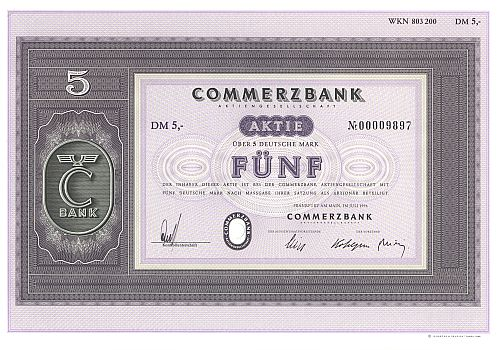 Commerzbank (1996)  historic stocks - old certificates