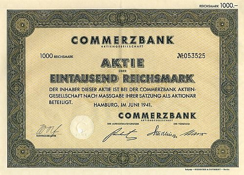 Commerzbank historic stocks - old certificates