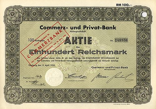 Commerz- und Privat-Bank historic stocks - old certificates