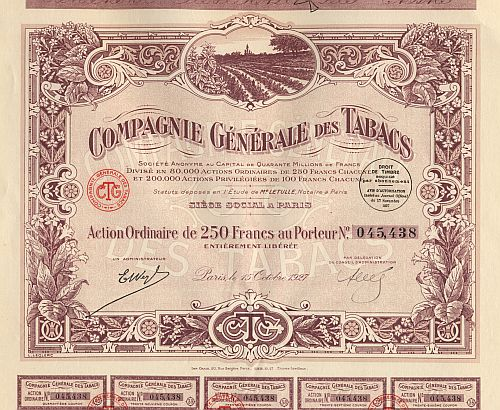 Compagnie Generale des Tabacs historic stocks - old certificates