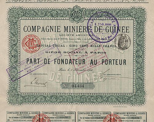 Compagnie Miniere de Guinee historic stocks - old certificates