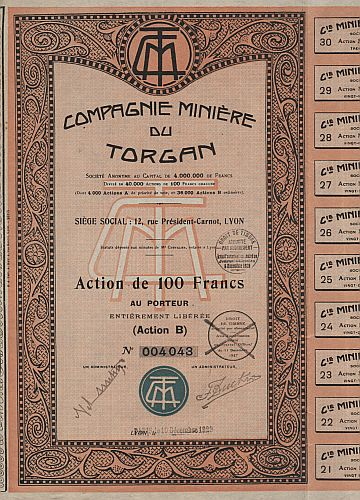 Compagnie Miniere du Torgan historic stocks - old certificates
