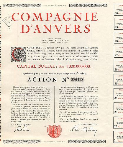 Compagnie d' Anvers (1957) historic stocks - old certificates