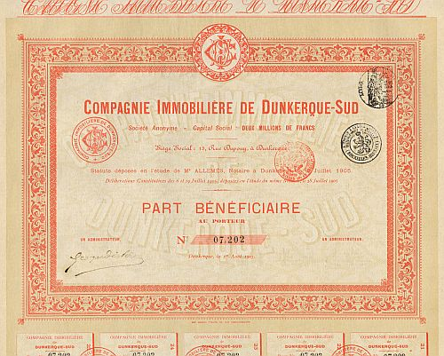 Compagnie Immobiliere de Dunkerque-Sud historic stocks - old certificates