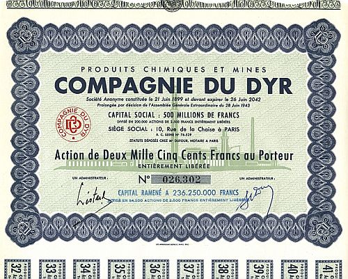Compagnie du Dyr historic stocks - old certificates