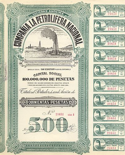 Compania La Petrolifera Nacional historic stocks - old certificates