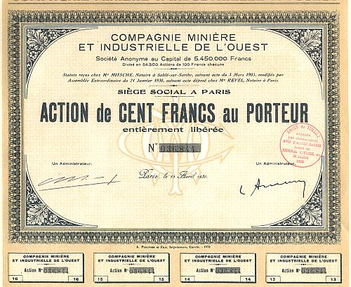 Compagnie Miniere et Industrielle de L'Ouest historic stocks - old certificates