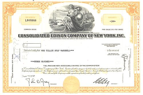Consolidated Edison Company of New York Inc. historic stocks - old certificates