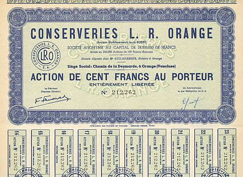 Conserveries L. R. Orange (Ancien Etablissement Louis RODET) historische Wertpapiere - alte Aktien