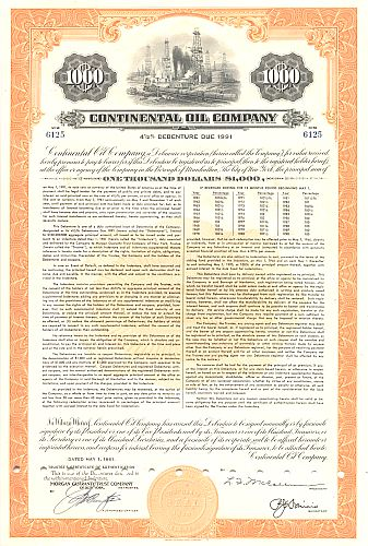 Continental Oil Company historic stocks - old certificates